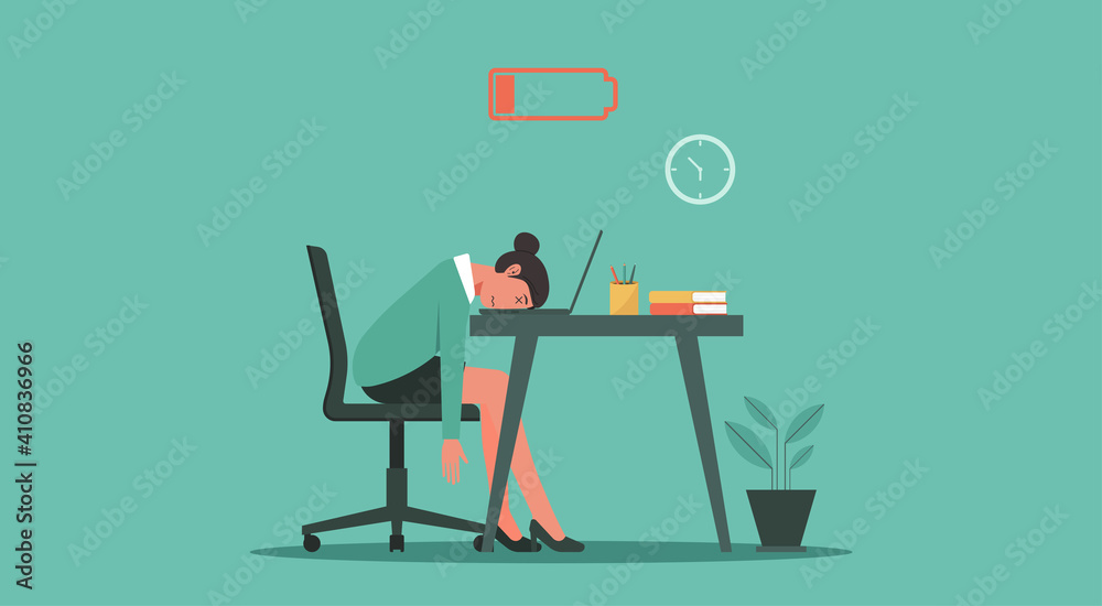 Fototapeta Professional burnout syndrome concept. Tired or exhausted woman with low energy battery sitting at the office and working on laptop computer in workplace, vector flat illustration