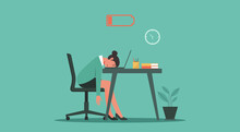 Professional Burnout Syndrome Concept. Tired Or Exhausted Woman With Low Energy Battery Sitting At The Office And Working On Laptop Computer In Workplace, Vector Flat Illustration