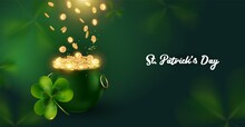 St. Patrick's Day Background With Pot And Riches. The Gold Coins Falling Down In The Green Pot .A Horizontal Banner With Space For Text.vector Illustration