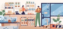 People In Pet Store Buying Food For Dog. Buyer And Seller Inside Zoo Shop With Toys, Feed And Other Products For Animals. Colored Flat Vector Illustration Of Modern Petshop Interior