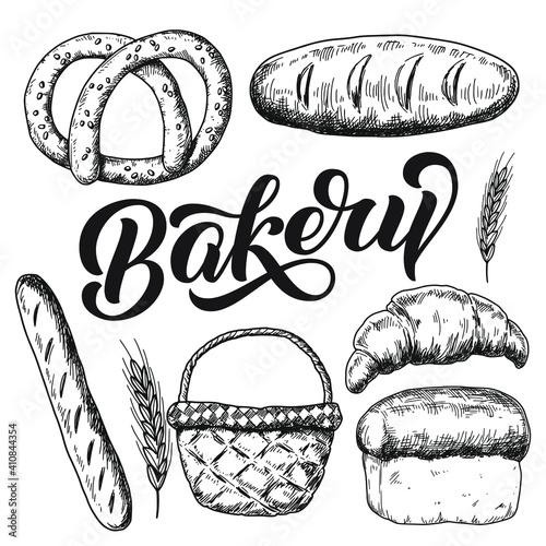 Vintage hand drawn collection of bread, sketch food illustration. Tapéta, Fotótapéta