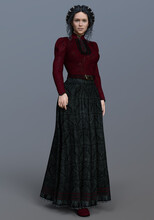3D Rendered Beautiful Brunette Female Wearing An Elegant Historical Dress  - 3D Illustration