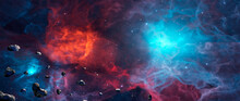 Panoramic Space Background. Asteroid Fly In Colorful Nebula With Stars. Digital Painting. 3D Rendering