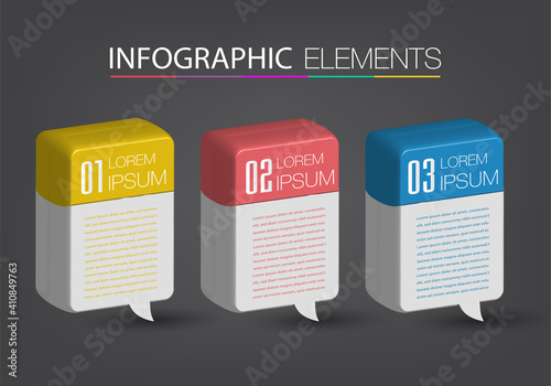 Fototapety, obrazy: modern 3D text box template, banner Infographics