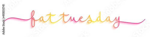 FAT TUESDAY colorful vector monoline calligraphy banner with swashes Fototapeta