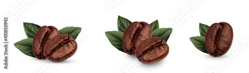 Photographie set of coffee beans and leaves fresh isolated on white background