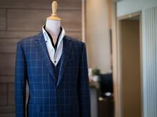 Close Up Of Blue Jacket Blazer Suit With Black Vest White Shirt On Mannequin Detail