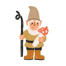 Cute And Funny Garden Gnome Or Dwarf Holding Amanita And Looking Curiously At Mushroom. Hand-drawn Fairytale Character. Colored Flat Cartoon Vector Illustration Isolated On White Background