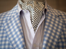 Close Up Of Light Blue Casual Jacket Suit Blazer With Ascott Scarf