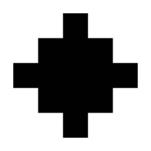 Vector Flat Style Illustration Of Pixelated Lo-fi Black Christian Cross Icon Isolated On White Background
