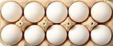 Egg Box With Fresh Eggs On Whole Background, Top View