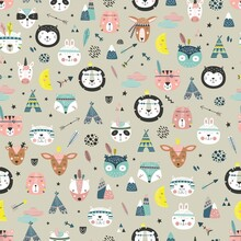 Cartoon Cute Animal Tribal Faces. Boho Cute Animals Vector Pattern. Creative Texture In Scandinavian Style. Great For Fabric, Textile Vector Illustration