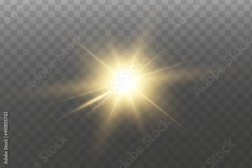 Fotografija Shining golden stars isolated on transparent background