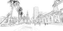 Santiago. Chile. South America. Urban Sketch. Hand Drawn Vector Illustration