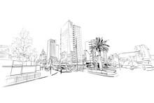 Santiago. Chile. South America. Urban Sketch. Hand Drawn Vector Illustration