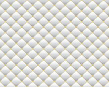 Vector Abstract White Diamond Shape Upholstery Luxury Background With Golden Buttons With Border.