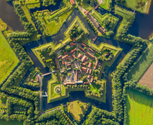 Aerial View Of The Fortification Village Of Bourtange Near The City Of Groningen In The Netherlands.