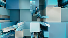 Multicolored 3D Block Background. Tech Wallpaper With Natural Aqua Hues. 3D Render