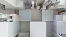Multicolored 3D Block Background. Tech Wallpaper With Muted Colors. 3D Render