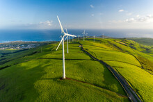 Aerial View Of The Wind Turbine On The Beautiful Terceira Island Of Azores Archipelagos, Portugal.