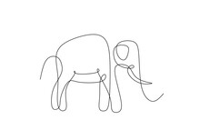 Continuous One Line Drawing Of An Elephant