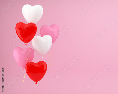 Heart shaped balloons on a pink background. Festive background. 3D illustration. #410870396