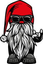 Cool Biker Gnome Flashing Devil's Horns Rock On Hand Sign Vector Illustration, Manly Gift For Husband, Dad, Grandpa