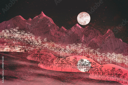 The natural shades of moonlight on the mountains