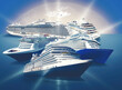 canvas print picture - Abstract cruise ships or big liners in open water. Collage about travel and vacations concept