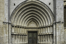 Side Door Detail Of The Girona Cathedral