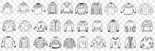 Various Warm Knitted Sweaters Doodle Set. Collection Of Hand Drawn Stylish Elegant Jackets Sweaters Cardigans With Different Patterns For Cold Weather Isolated On Transparent Background