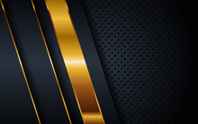 Abstract Elegant Dark Blue Navy Combination With Golden Lines Background . Luxury Black Paper Overlapping On Premium Gold Combine Concept Design . Vector Illustration