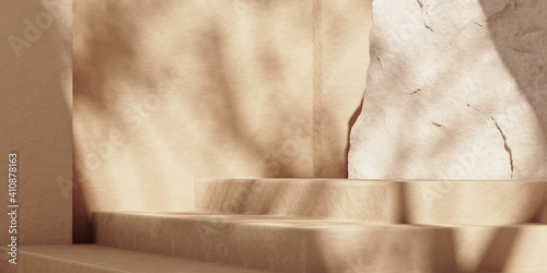 Fotografie, Obraz Minimal beige abstract background with stone steps podium for product and cosmetic presentation