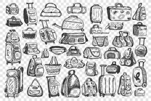 Bags Doodle Set. Collection Of Different Handbags For Travelling Tourist Baggage School Backpacks Isolated On Transparent Background. Travel Suitcase Luggage For Trip Journey Illustration.