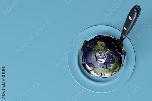 3D rendering of the Planet Earth with a kitchen carver on a blue table - climate Fototapeta