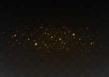 Yellow Dust. Beautiful Light Flashes. Dust Particles Fly In Space. Bokeh Effect. Horizontal Light Rays.