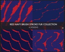 Red Navy Brush Stroke Fur Seamless Pattern Collection