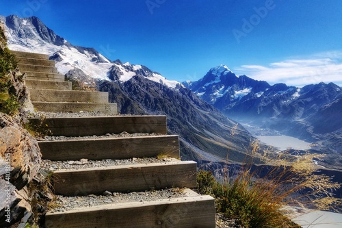 Obraz Scenic View Of Snowcapped Mountains Against Blue Sky - fototapety do salonu