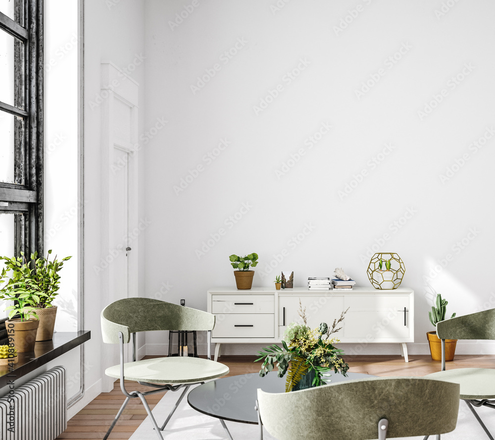 Fototapeta Living room interior in loft, industrial style, 3d render
