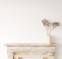 Blank Wall Mock Up In Home Interior Background, White Room With Natural Wooden Furniture, Scandi-Boho Style, 3d Render