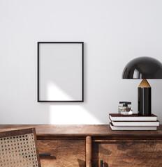 Mockup poster frame close up in minimalist modern interior background, 3d render