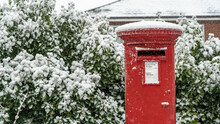 Red Post Box In The Snow At Christmas