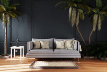 Canceled Vacation And Stay At Home Concept; Elegant Living Room Interior With Single Vintage Sofa Between Large Palm Trees; Tropical Ambience; Staycation And Holistay; 3D Illustration
