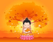 Cute Buddha Meditating On The Lotus.Happy Vesak Day, Magha Puja Or Buddha Purnima-Vector Illustration