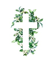 Watercolor Illustration. Christian Cross Made Of Green Leaves And A Snowberry On A White Background, Cards, Calendars, Easter, Holiday, Invitation