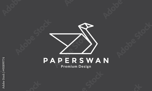 Obraz na plátně paper craft line bird animal swan  logo vector icon symbol graphic design illust
