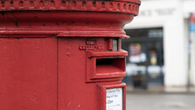 Side View Of Red Post Box