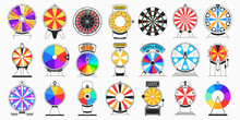 Flat Spinning Fortune Wheel. Spin To Win Game, Colorful Lucky Chance Wheels And Casino Roulette. Jackpot Circle Vector Illustration Set
