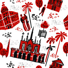 Landmarks Of Nice, France, Stylish Seamless Pattern In Red, Black And White With People On The Streets Among The Palm Trees. Vector Illustration.