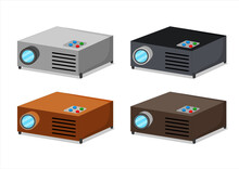 Vector Illustration Set Of A 3d Projector Ready To Use For Presentations